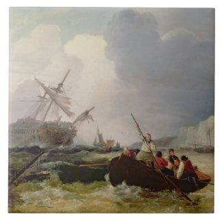 Ruderboot, das zur Hilfe eines Mann-o' Krieges in Keramikfliese
