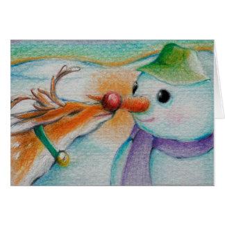 Rudolf trifft den Schneemann Grußkarte