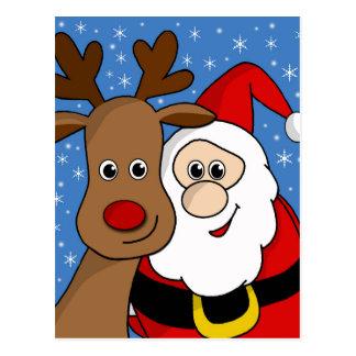 Rudolph und Sankt selfie Postkarte