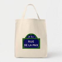 Rue de la Paix, plaque de rue de Paris Sac En Toile Épicerie