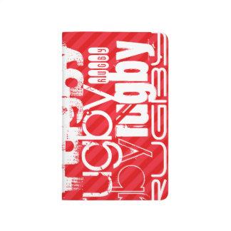 Rugby; Scharlachrot Rot-Streifen- Taschennotizbuch