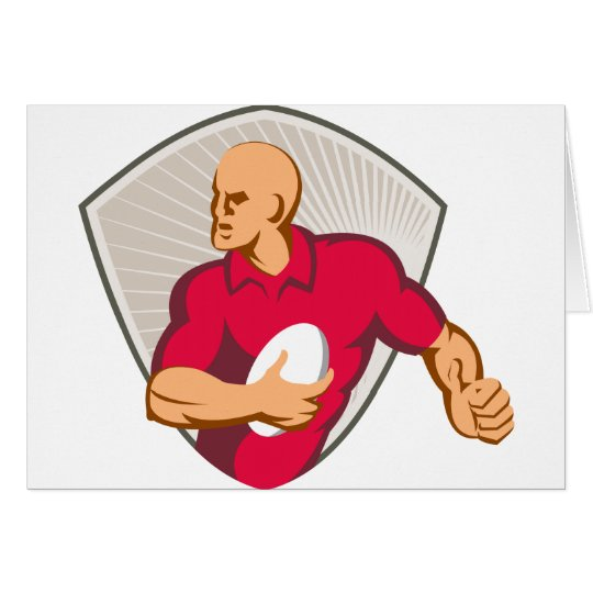 Rugby-Spieler, der mit dem Ball Retro läuft Grußkarte