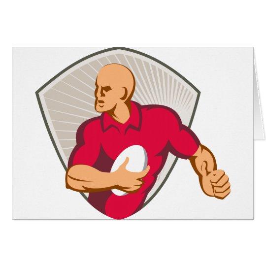 Rugby-Spieler, der mit dem Ball Retro läuft Karte