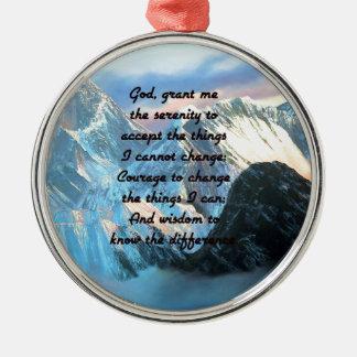 Ruhe-Gebet mit Panoramablick-Mount Everest Silbernes Ornament