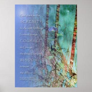 Ruhe-Gebets-blaues Grün-Unkräuter und Zaun-Druck Poster