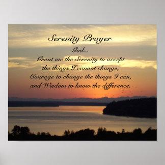 Ruhe-Gebets-Meerblick-Sonnenuntergang Poster