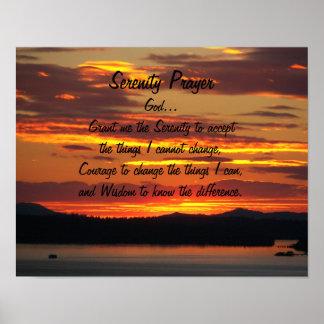 Ruhe-Gebets-Orangen-Sonnenuntergang Poster