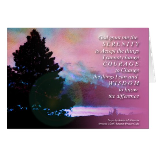 Ruhe-Gebets-Rosa-blauer Himmel-Baum-Karte Grußkarte