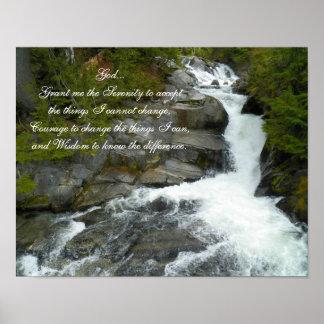 Ruhe-Gebets-Waldwasserfall Poster