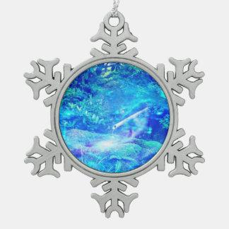 Ruhe im Garten Schneeflocken Zinn-Ornament
