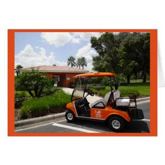 Ruhestand - orange Golf-Wagen-neues Set Räder Karte