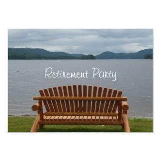 Ruhestand Party-Lakeview mit hölzerner Bank 12,7 X 17,8 Cm Einladungskarte