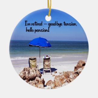 Ruhestand und eine Pension Rundes Keramik Ornament