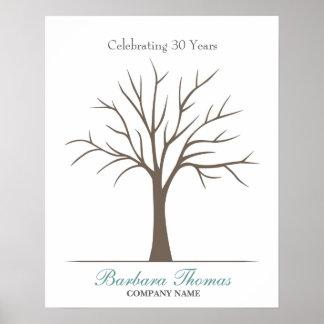 Ruhestands-Fingerabdruck-Baum Poster
