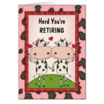 Ruhestands-Glückwünsche - Kühe Grußkarte