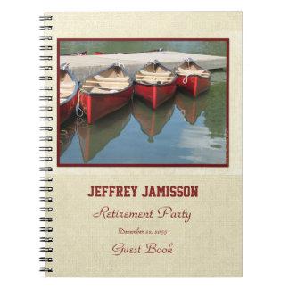 Ruhestands-Party-Gast-Buch, rote Kanus Spiral Notizblock