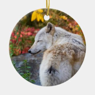 Ruhiger Herbst-Wolf Keramik Ornament