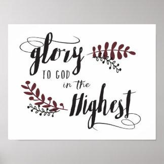 Ruhm zum Gott im höchsten Plakat