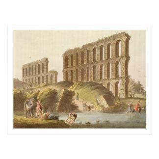 Ruinen des großartigen Aquädukts von altem Postkarte