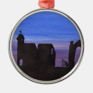 Ruinen im Zwielicht Rundes Silberfarbenes Ornament