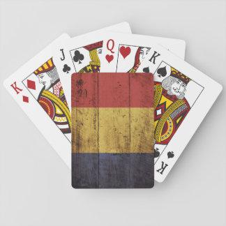 Rumänien-Flagge auf altem hölzernem Korn Spielkarten
