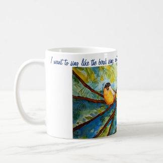 Rumi Zitat-Vögelwatercolor-Kunst-Kaffee-Tasse Kaffeetasse