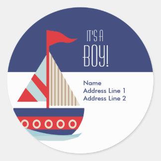 Runde Adressen-Etiketten - Segeln-Segelboot-Blau Runder Aufkleber