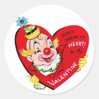 Runde Aufkleber Clown-Herz| Vintage Valentine-|