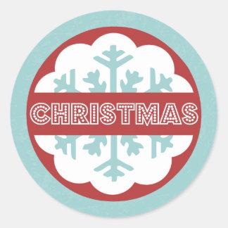 Runde moderne blaue frohe wenig Weihnachten Runder Aufkleber