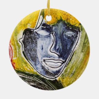 Runde Verzierung blauer Dame Keramik Ornament