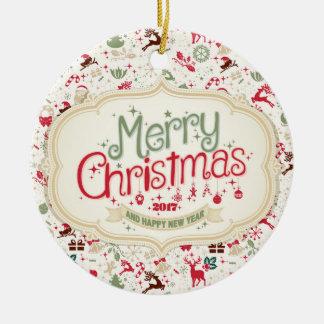 Runde Verzierung der frohen Weihnacht-2017 Keramik Ornament