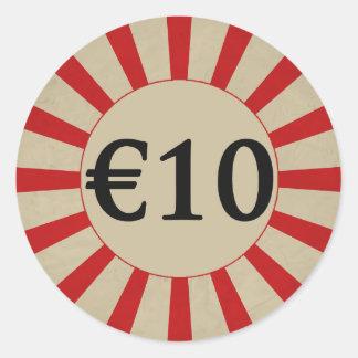 runder glatter Preis €10 (Euro) Runder Aufkleber