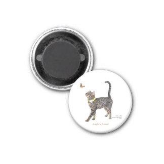 Runder Magnet, der Tabatha, den Tabby kennzeichnet Runder Magnet 3,2 Cm