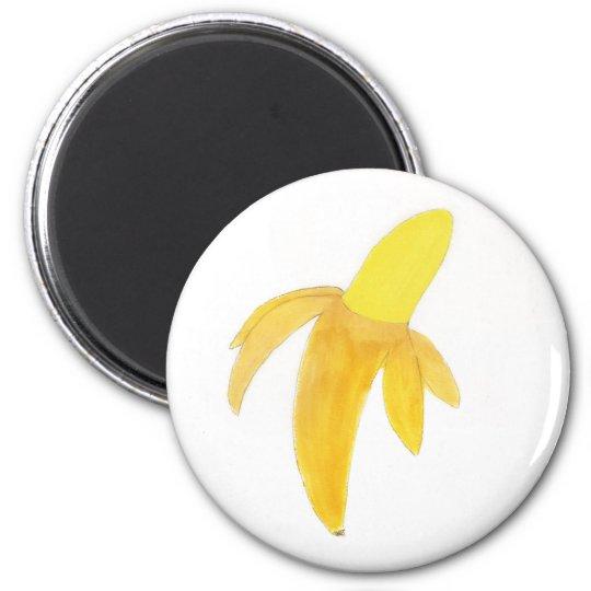 Runder Magnet mit Aquarell-Malerei-Banane