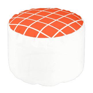"""Runder Puff """"Gitter"""" - Weiß und Orange Hocker"""