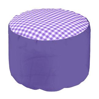 "Runder Puff ""Vichy"" - Lavendel Hocker"
