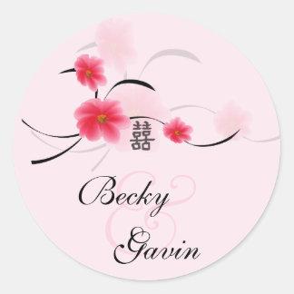 Rundes Aufkleber-Rosa-Blüten-Doppelt-Glück
