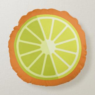 Rundes Kissen der Retro grüne Zitronen-Limones