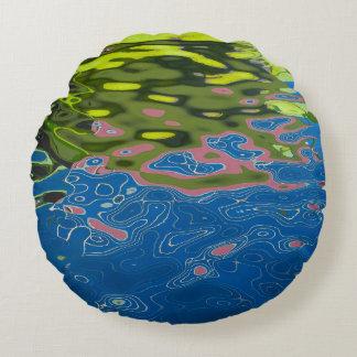 Rundes Kissen mit abstraktem Foto der Reflexion