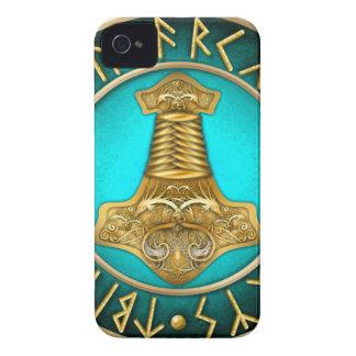 Runen - Thors-Hammer - aquamarin iPhone 4 Hüllen