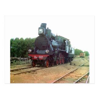 Russische Dampf-Lokomotive Postkarte