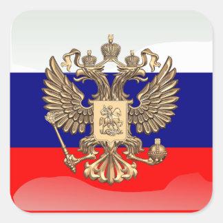 Russische glatte Flagge Quadratischer Aufkleber