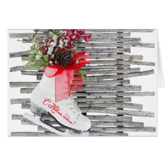 Russische neues Jahr-Eis-Skate-Schuhe Vintag Grußkarte
