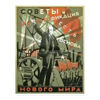 Russisches kommunistisches Propaganda-Plakat Postkarte