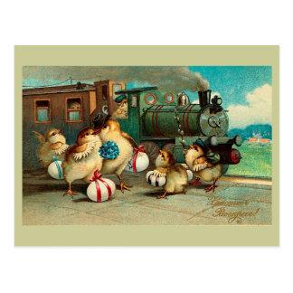 Russisches Vintages Ostern mit Zug Postkarte