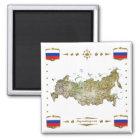 Russland-Karte + Flaggen-Magnet Quadratischer Magnet