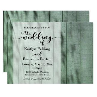 Rustikal, Land, grünen Sie das gemalte alte Holz, 12,7 X 17,8 Cm Einladungskarte