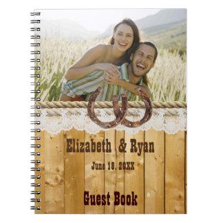 Rustikal, Spitze und Hufeisen, Gast-Buch Spiral Notizblock