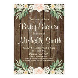 Rustikale Babyparty-Einladung, Spitze, mit Blumen 12,7 X 17,8 Cm Einladungskarte