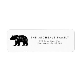 Rustikale Babyparty Mutter-Bear | Kleiner Adressaufkleber